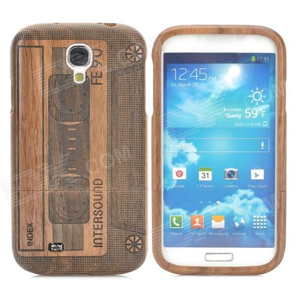 Retro Cassette Pattern Wooden Back Case for Samsung Galaxy S4 i9500 - Brown + Black