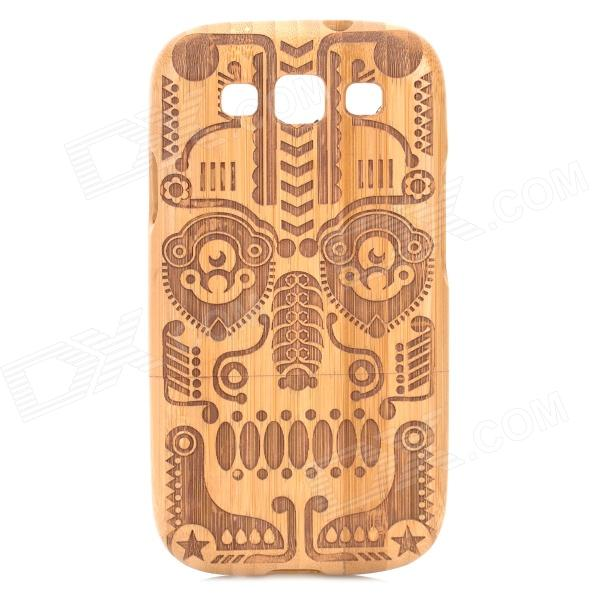 Retro Totem Pattern Protective Carbonized Bamboo Back Case for Samsung i9300 - Yellow + Brown