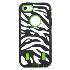 Zebra-Stripe Style Protective PC + Silicone Case for Iphone 5C - Black + Green + White