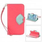 Fashionable Flip-open PU Leather Case w/ Strap / Card Slot / Holder for Samsung S4 i9500 - Deep Pink