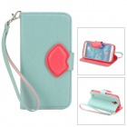Fashionable Flip-open PU Leather Case w/ Strap / Card Slot / Holder for Samsung S4 i9500 - Green