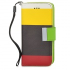 Y6-8-2 Protective PU Leather + TPU Case for Iphone 5C - Yellow + Black + Red + Green