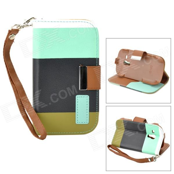 Fashionable Assorted Color Flip-open PU Leather Case w/ Card Slot / Strap for Samsung Galaxy S3 Mini