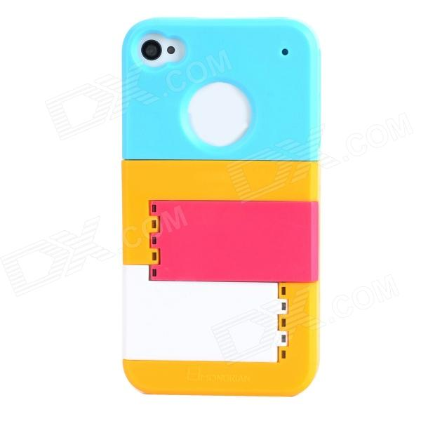 Multifunction Protective Plastic Back Case w/ Stand for Iphone 4 / 4S - Blue + Yellow + Deep Pink 2017 new eu us plug in 2 outdoor transmitter 2 indoor receiver touch wireless door bell with 28 chimes waterproof doorbell