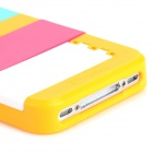 Multifunction Protective Plastic Back Case w/ Stand for Iphone 4 / 4S - Blue + Yellow + Deep Pink