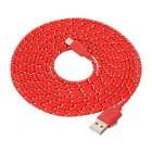 Micro USB Male to USB Male Braided Charging Data Cable - Red + Black (3m)