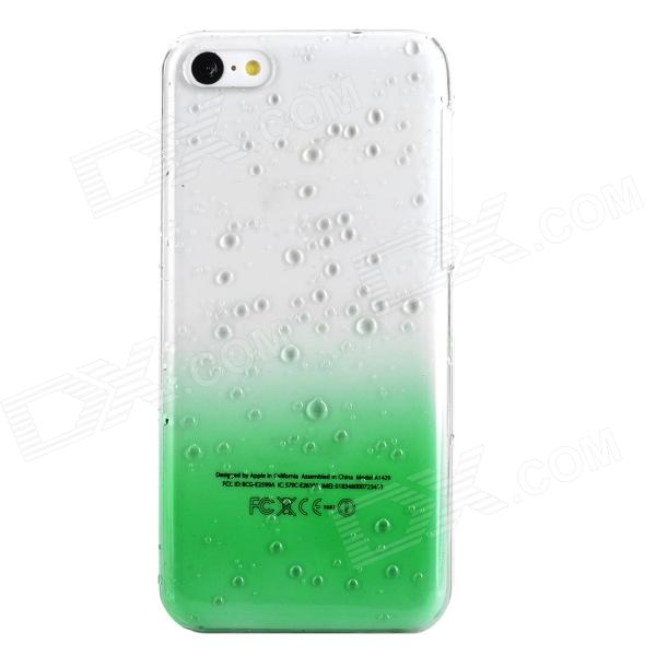 Water Drop Style Protective Plastic Back Case for Iphone 5C - Translucent Green + Transparent water drops pattern protective pc back case for iphone 5c translucent green translucent blue