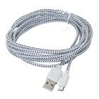 Micro USB Male to USB Male Braided Charging Data Cable - White + Black (3m)
