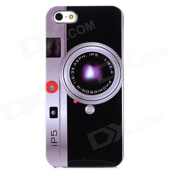все цены на iP5 Camera Pattern Protective Plastic Back Case for Iphone 5 - Black + Multicolor онлайн