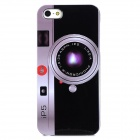iP5 Camera Pattern Protective Plastic Back Case for Iphone 5 - Black + Multicolor