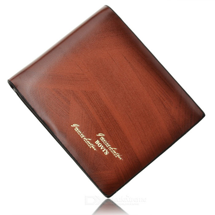 Split Leather Folding Men Wallet - Brown