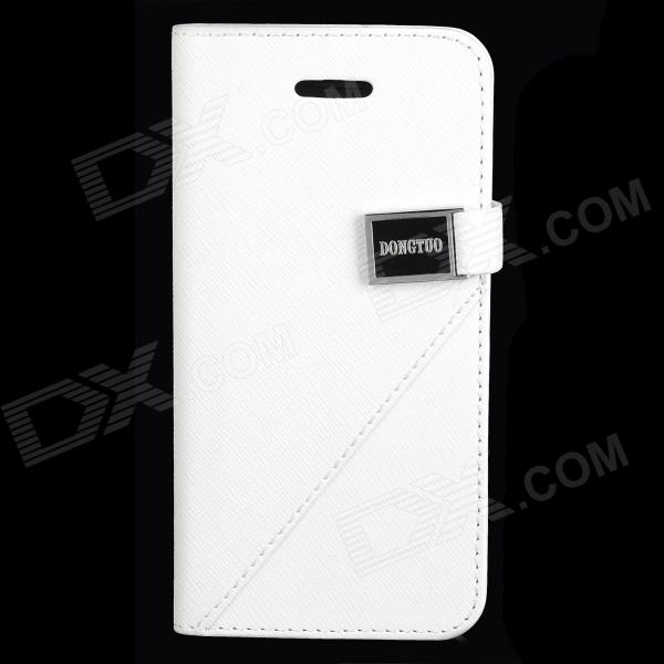 5GA13 Protective Flip Open PU Leather Case w/ Stand / Card Slots for Iphone 5 - White glossy leather wallet stand cover with 5 card slots for iphone 7 4 7 white