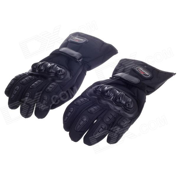 MADBIKE MD015# Stylish Waterproof Warm Full Finger Motorcycle Racing Gloves - Black (Pair / Size-L) pro biker mcs 03 motorcycle racing full finger warm gloves black grey size l pair