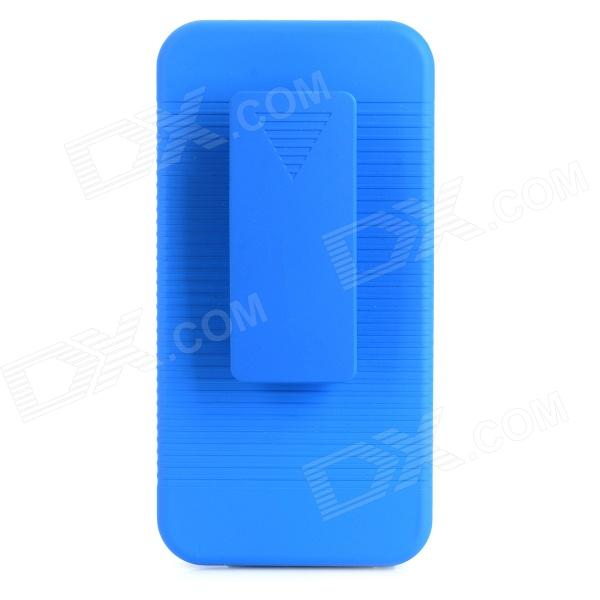 Stylish Protective Plastic Back Case w/ Stand for Iphone 5C - Dark Blue stylish protective silicone back case for iphone 5c grey