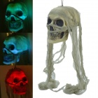 SYVIO JC Toys 72008 7-Color Lighting Skull Decorative Props w/ Khaki Headcarf for Halloween Holiday