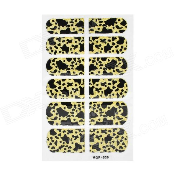 MGF530G Leopard Pattern Nail Beautifying / Decorating Stickers - Black + Yellow