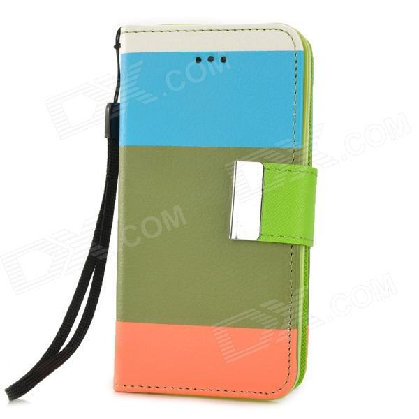 Y6-8-1 Fashionable Joint Color PU + TPU Case w/ Card Slot + Holder for Iphone 5C - Multicolored bob marley