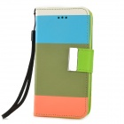 Y6-8-1 Fashionable Joint Color PU + TPU Case w/ Card Slot + Holder for Iphone 5C - Multicolored