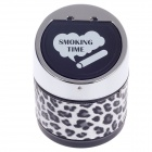 982BF Stylish Creative Leopard Print Zinc Alloy Spring Lid Ashtray - Silver + Black + White