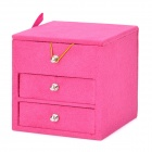 Elegant 3-Layer Flannel + Wood Jewelry Box - Deep Pink