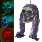 SYVIO JC Toys 72008 7-Color Lighting Skull Decorative Props w/ Purple Headcarf for Halloween Holiday