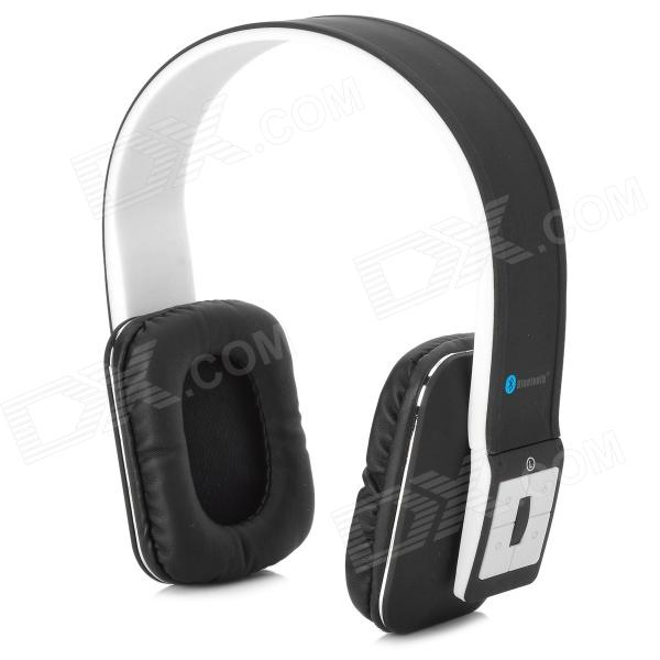 AT-BT803 Bluetooth v3.0 + EDR Stereo Headphones w/ Microphone - Black + White gucee g868 bluetooth v2 1 edr stereo headphones w microphone green white