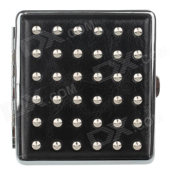 PU Leather + Stainless Steel Double-sided Rivet Cigarette Case - Black + Silver (Holds 20 PCS)