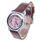 ORKINA F111 Stylish Women's Quartz Wrist Watch w/ Diamante - Brown + Silver + Pink (1 x LR626)