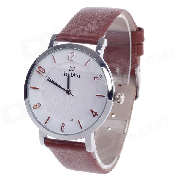 Daybird 3802 Stylish PU Leather Band Quartz Women's Wrist Watch - Brown + White + Silver (1 x LR626) daybird 3802 pu leather band quartz analog women s wrist watch black golden white 1 x lr626