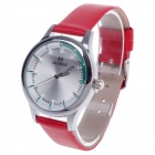 Daybird 3806 Head Layer Cowhide Band Quartz Women's Wrist Watch - Red + Silver + Green (1 x LR626)