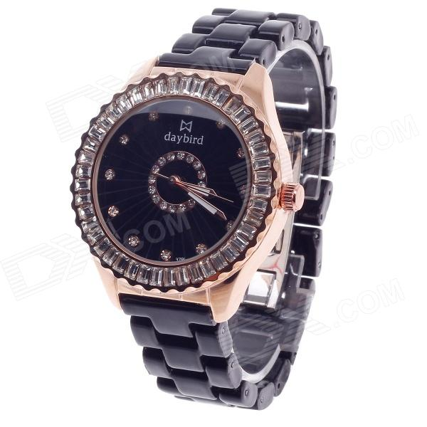 Daybird 3791 Ceramic Band Quartz Women's Wrist Watch w/ Rhinestone - Black + Rose Gold (1 x LR626) daybird 3791 ceramic band quartz women s wrist watch w rhinestone black rose gold 1 x lr626