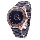 Daybird 3791 Ceramic Band Quartz Women's Wrist Watch w/ Rhinestone - Black + Rose Gold (1 x LR626)