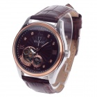 Daybird 3771 Double-Sided Skeleton Automatic Men's Wrist Watch w/ Rhinestone - Brown + Silver