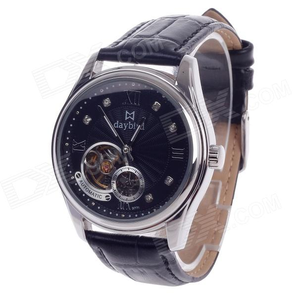 Daybird 3771 Double-Sided Skeleton Automatic Men's Analog Wrist Watch w/ Rhinestone - Black + Silver solid scrub stainless steel brushed black gold silver rose gold finished watch band clasp buckle watchbands 16 18 20mm 24mm 26mm