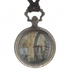 Retro Elegant Sky Wheel Style Quartz Analog Women's Pocket Watch w/ Necklace Chain - Bronze (1x377)