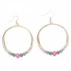 Fashionable Big Circle Style Rhinestone Decoration Earrings for Women - Golden (Pair)
