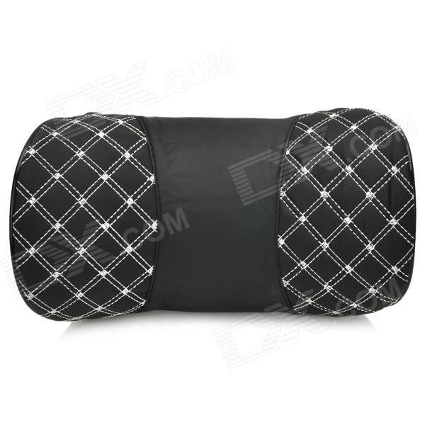 Microfiber Leather + Memory Cotton Car Neck / Head Support Cushion / Pillow - Black + White