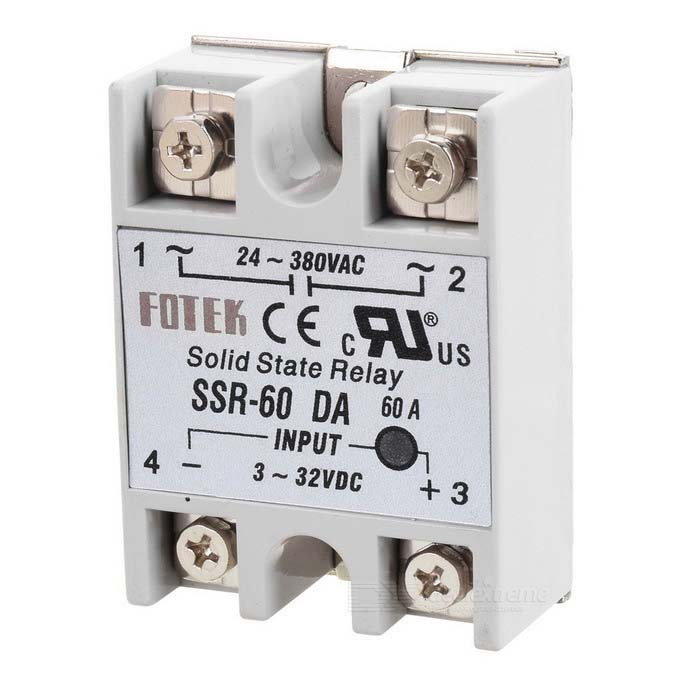 SSR-60DA Solid-state Relay - Grey + Silver solid state relay ssr 120da clear cover for temperature contoller