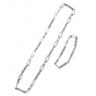 HBD1896 Vogue Titanium Steel Men's Necklace + Bracelet - Silver