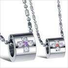 GX801 Fashionable Rhinestone Cross Loops Titanium Steel Couple's Necklace - Silver (2 PCS)