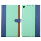 Protective PU Leather Case Cover Stand for Google Nexus 7 II - Light Green + Blue + Brown
