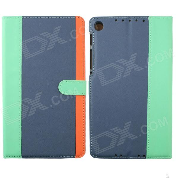 Protective PU Leather Case Cover Stand for Google Nexus 7 II - Light Green + Blue + Orange one piece 1x brand new high quality silicon protective skin case cover for xbox 360 remote controller blue green mix color