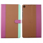 Protective PU Leather Case Cover Stand for Google Nexus 7 II - Light Green + Deep Pink + Brown