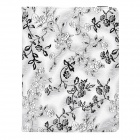 CT1211010 Flower Style 360 Degree Rotation PU Leather Case for Ipad 2 / 3 / 4 - White + Black