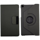 360' Rotation Protective Carbon Fiber Cloth + PC Case Cover Stand for Google Nexus 7 II - Grey