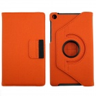 360' Rotation Protective Carbon Fiber Cloth + PC Case Cover Stand for Google Nexus 7 II - Orange