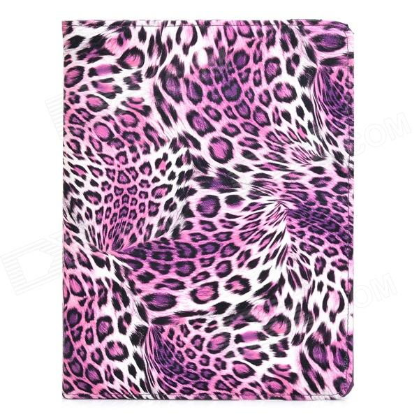 CT1211019 Leopard Style Protective 360 Degree Rotation PU Leather Case for Ipad 2 / 3 / 4 - Purple crocodile grain style protective 360 degree rotation pu leather case for ipad 2 3 4 yellow