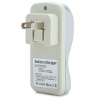 BTY BTY-812B 2-Flat Pin-Plug Battery Power Charger Set for AA / AAA / 9V - Silvery Grey + Black
