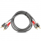 JJBY Dual RCA Connector to Dual RCA connector Audio / Speaker Cable - White + Red + Deep Grey