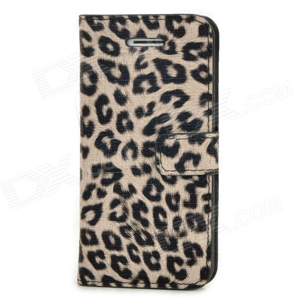 Fashionable Leopard Pattern PU + Plastic Case w/ Holder + Card Slot for Iphone 5C - Black + Grey purple fashionable leopard leather skin hard cover for iphone 5c